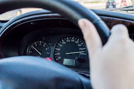 tachometer: closeup of a tachometer with speeding