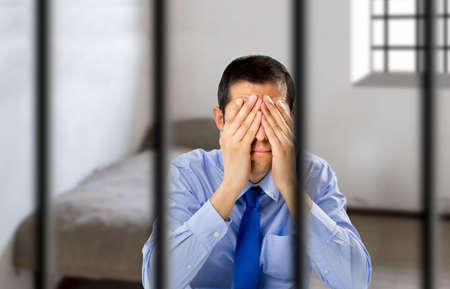 political prisoner: businessman in jail for his scams Stock Photo