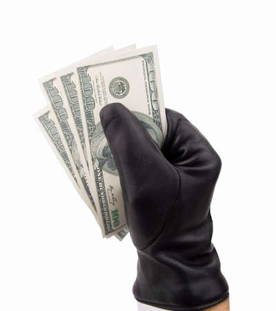 scammer: stealing thief with black gloves dollars with white background