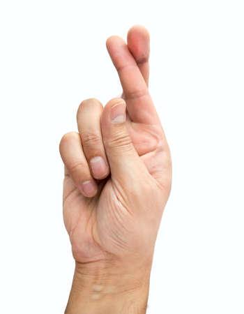 finger crossed: finger crossed hand sign isolated on white Stock Photo