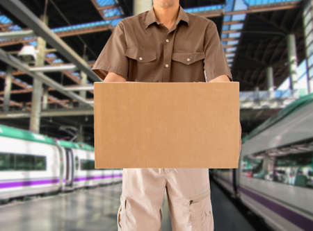 goods train: Man offering his goods transportation service from walk from a train station