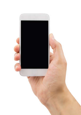 internet surfing: hand holding a modern smartphone with white background Stock Photo
