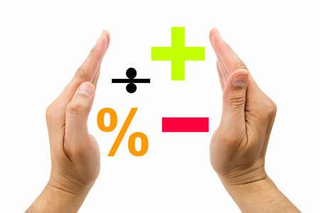 signos matematicos: Empresario proteger signos matemáticos con el fondo blanco