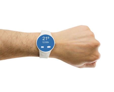 hand showing the smartwatch with the weather. All screen content is designed by us and not copyrighted by others and created with wacom tablet and ps