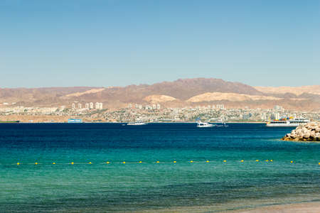view of Gulf of Aqaba with Eilat city on background Reklamní fotografie