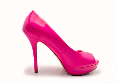 profil: profil of pink heel shoe isolated with white background