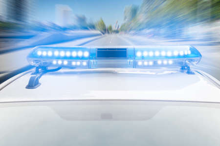 police equipment: police car at high speed