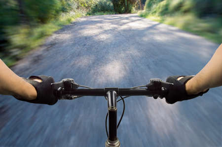 bike: close up of a mountain bike at high speed Stock Photo