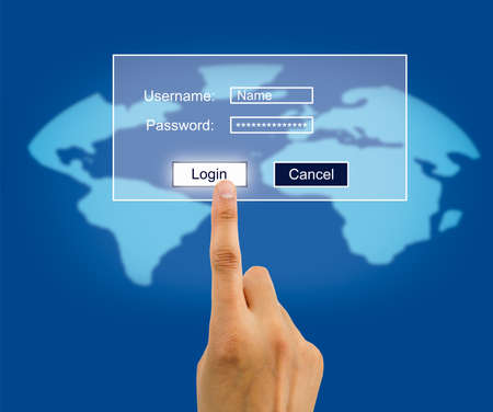 information superhighway: hand you enter the password for internet connection.All screen content is designed by us and not copyrighted by others and created with tablet and ps Stock Photo