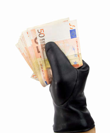 black gloves: stealing thief with black gloves euro with white background Stock Photo