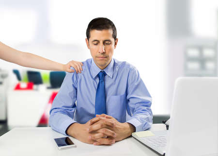 demotivated: encouraging business woman clerk demotivated after a failure and discussion in the office