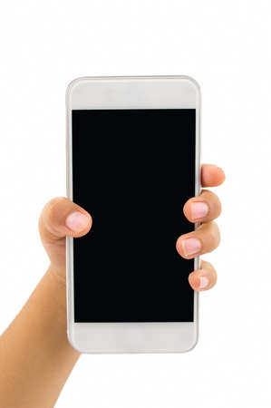 hand of children holding a modern smartphone with white background