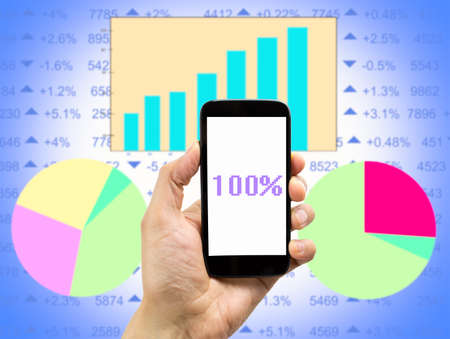 copyrighted: close up of businessman holding the smartphone and showing the result of earnings .All screen content is designed by my and not copyrighted by others and created with digitizing tablet and image editor Stock Photo
