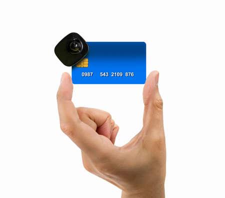 cardkey: close up of credit card burglar alarm security concept
