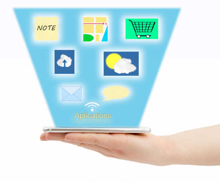 wacom: hand holding the smartphone connected to internet with multiple applications on white background. All screen content is designed by me and not copyrighted by others and created with wacom tablet and ps