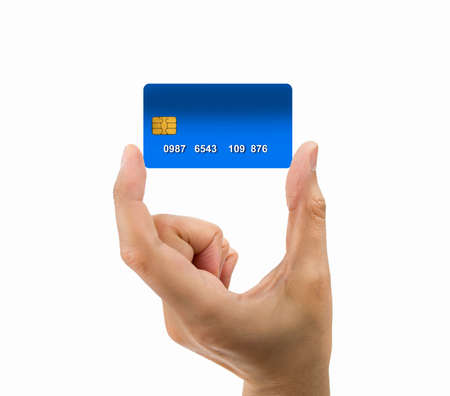 cardkey: hand of man holding the credit card isolated on white background