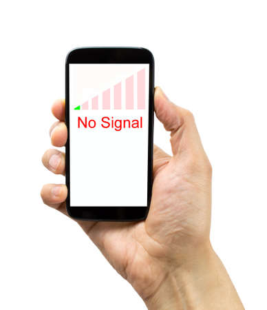 hand jamming: hand holding the smartphone with bad coverage over white background. All screen content is designed by us and not copyrighted by others and created with digitizing tablet and image editor Stock Photo