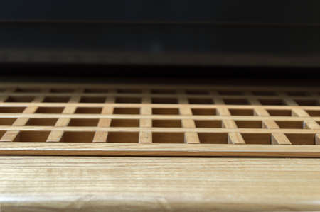 air condition: wood ventilation louver close up of air condition