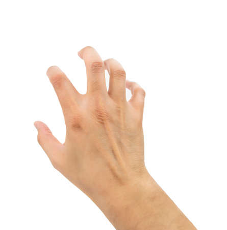 clawing: hand with gesture of clawing on white background Stock Photo