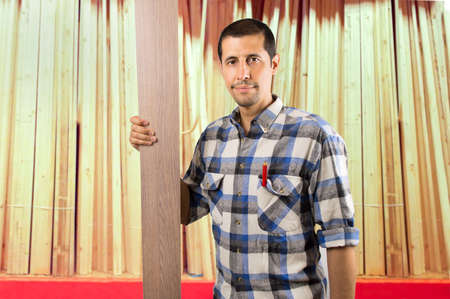 vise grip: handyman standing in front holding a wooden plank