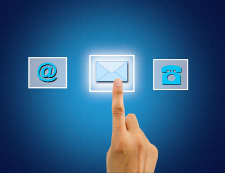 finger pushing button of send an email on the interface. All screen content is designed by me and not copyrighted by others and created with wacom tablet and ps