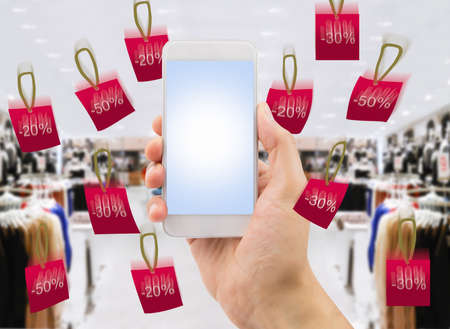 copyrighted: detail of person shopping by the smartphone at the store online.All screen content is designed by my and not copyrighted by others and created with digitizing tablet and image editor