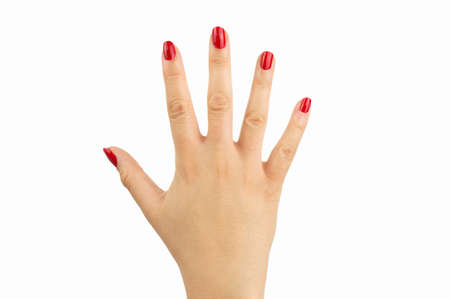 closeup of manicure of the red sexy nails on white background Stock Photo - 48169127