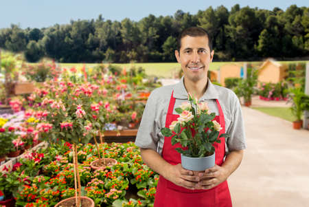 merchant: florist  shopman holding a plant in the nature