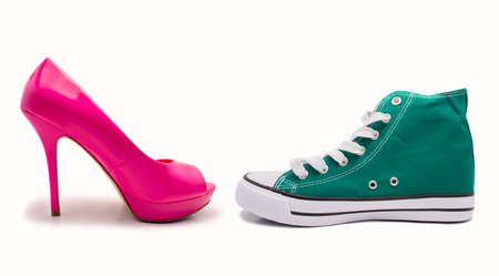 choice between feminine shoe and sneaker by profile over white background