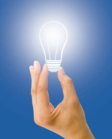 copyrighted: hand holding a light bulb on blue background. All screen content is designed by my and not copyrighted by others and created with digitizing tablet and image editor