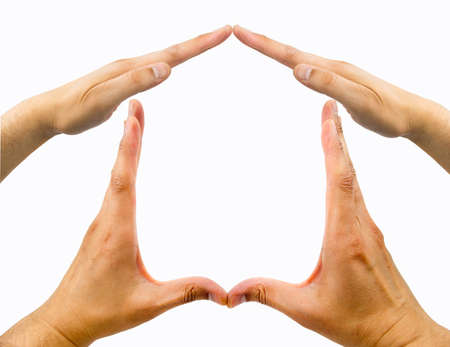 protection hands: making the house shape with a group of hands on a white background