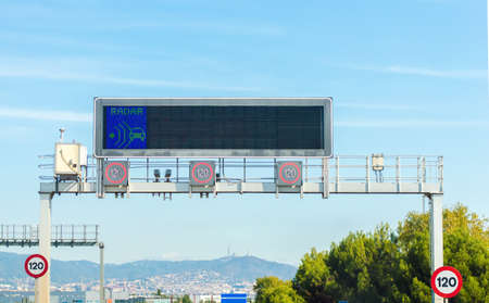 highway sign: LED Traffic Road Signs in Barcelona, Spain