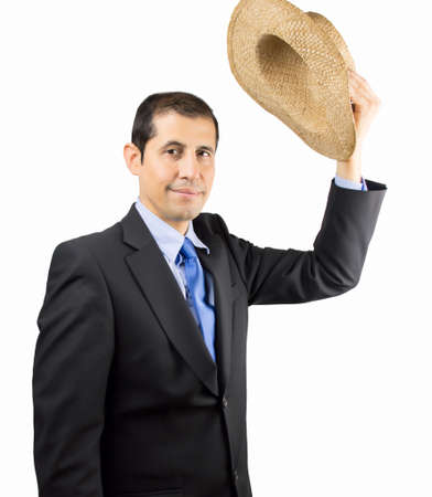 salutation: businessman is saying goodbye making a salutation with a hat on the hand isolated on white background Stock Photo