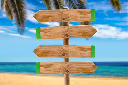 wooden signpost in the meadow with copyspace on the beach and palms