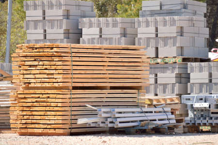 group of new construction materials for buildings Stok Fotoğraf - 57533698