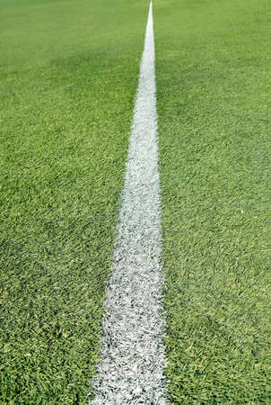 single line: Close up of soccer field with single line Stock Photo