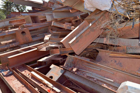 cropped shot: Cropped shot of a pile of equipment and scrap metal