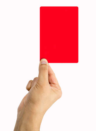 misconduct: Football referee showing you the red card white banckground Stock Photo