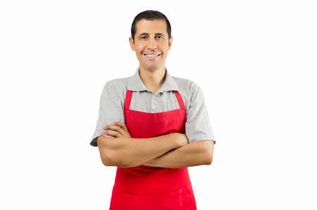 portrait of shopman isolated on white background Stock Photo