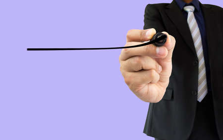 felt tip: businessman writing a line with a felt tip on the wipeboard. All screen content is designed by us and not copyrighted by others and created with digitizing tablet and image editor