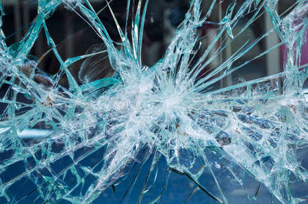 close up of broken office window glass