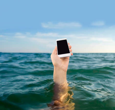 hand of a drowning man and do not want your phone to get wet in the ocean