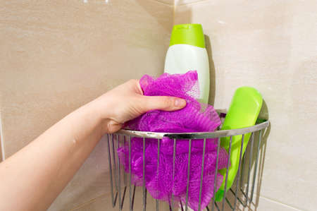 female in douche: hand of one young woman catch her sponge in the shower