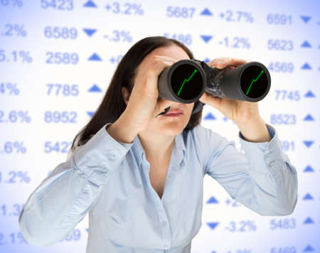businesswoman searching with binoculars the opportunities to invest in stock market. All screen content is designed by me and not copyrighted by others and created with wacom tablet and ps