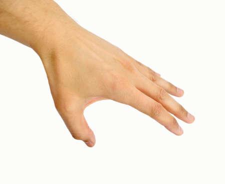 la main tendue de l'homme en diagonale sur fond blanc