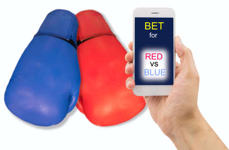 boxing match: man is betting through his smartphone at the boxing match on a white background