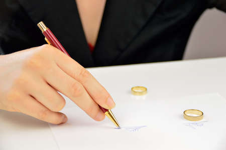 wife signing the divorce agreement and with the two wedding rings over the document