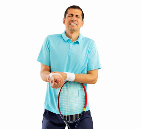shot of a tennis player with a wrist injury