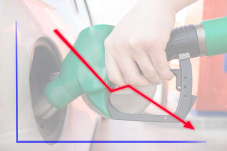 man pumping gasoline fuel in car at gas station a down chart in concept. All screen content is designed by me and not copyrighted by others and created with wacom tablet and ps