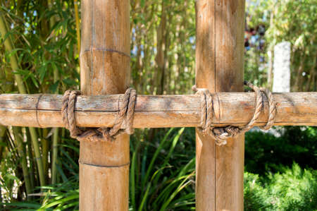 delimitation: bamboo fence in the japanese garden landscape